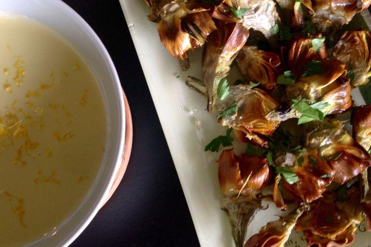 Deep fried baby artichokes with lemon aioli