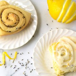 Lemon Lavender Sweet Rolls with Lemon Mascarpone Frosting