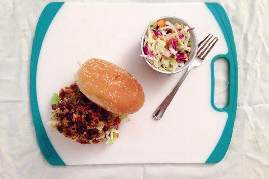 BBQ Veggie Burger with Crispy Quinoa Onion Rings