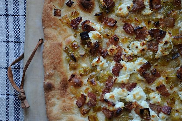 Leek Bacon and Goat Cheese Pizza