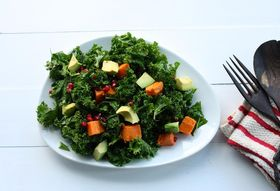 Kale Salad with Roasted Sweet Potato, Avocado, and Pomegranate Seeds