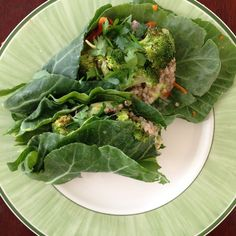 Collard wraps with miso-tahini sauce
