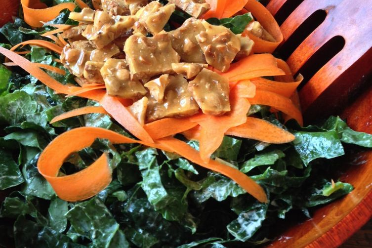 Kale Salad with Goat Cheese Vinaigrette and Crunchy Almond Brittle