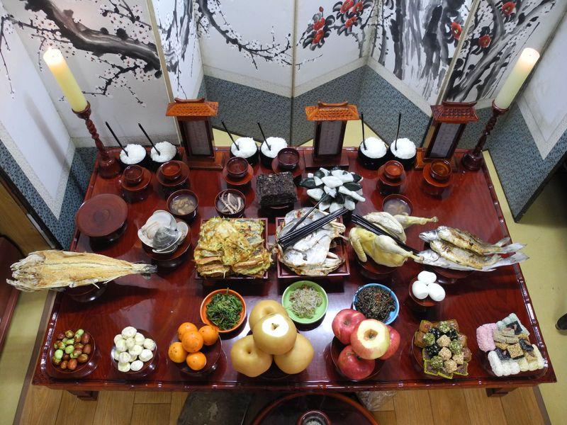 A bountiful Chuseok spread for a charye ceremony.
