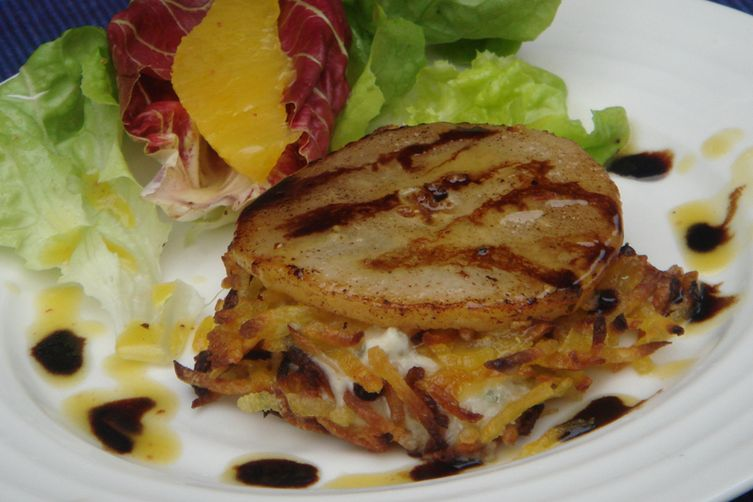 Warm Sweet Potato Rostis with Gorgonzola and Pear