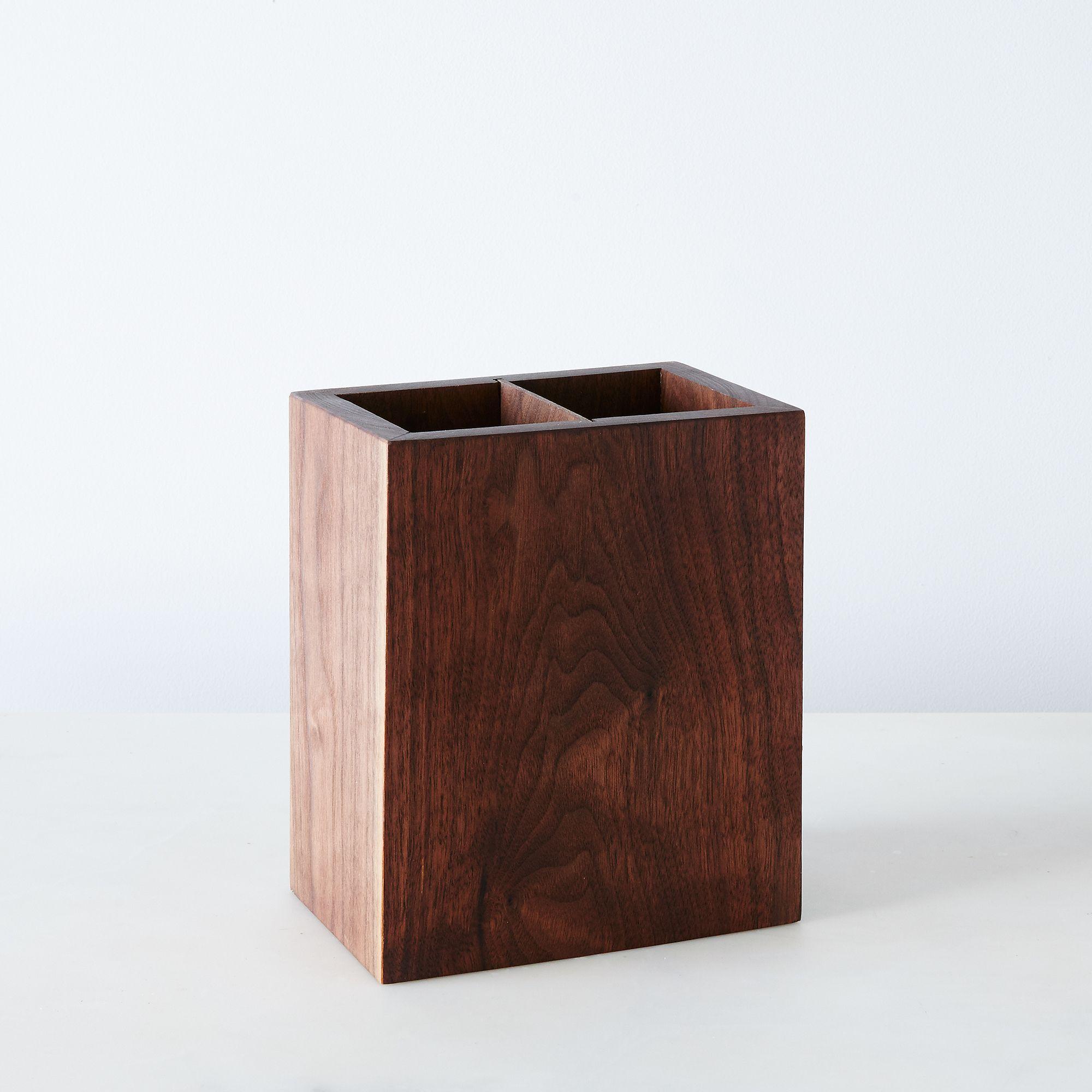 Wooden kitchen utensil holder - Walnut Kitchen Utensil Holder