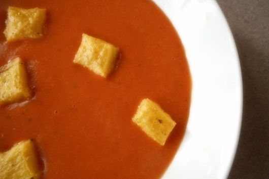 Sun Dried Tomato Soup with Polenta Croutons