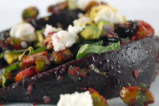 Minted Beets with Cumin, Lemon and Pistachios