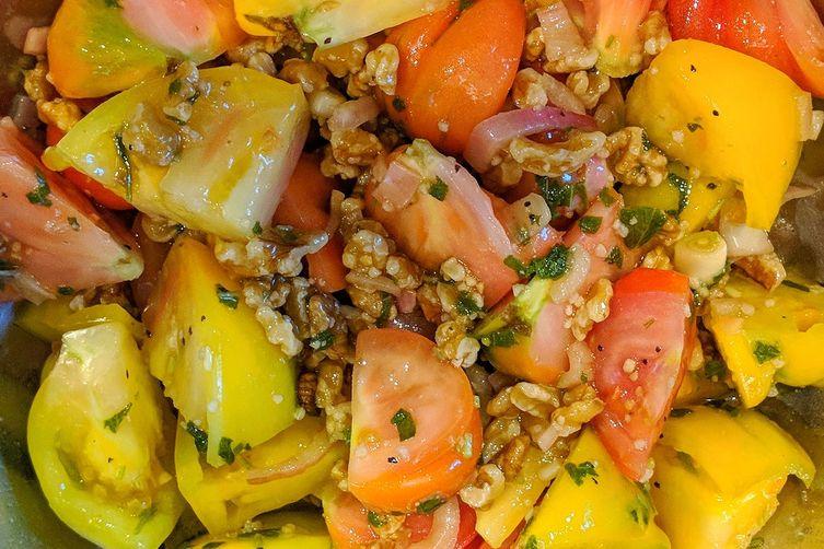Walnut Sage Heirloom Tomato Salad