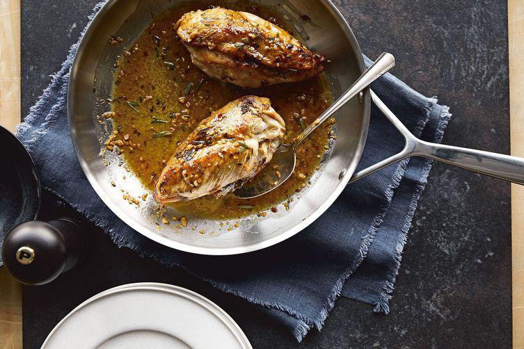 Chrissy Teigen's Crispy-Skinned Chicken With Lemon-Rosemary Pan Sauce