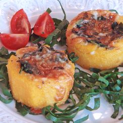 Polenta baskets with sautéed spinach and Taleggio cheese