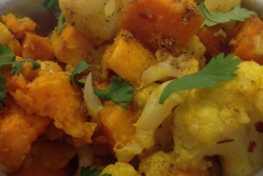 iHeart curried cauliflower and sweet potatoes