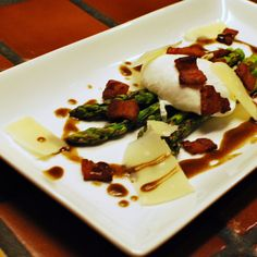 Grilled Asparagus Salad - Bacon, Parmigiano, Poached Egg, Balsamic