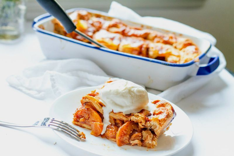 Candied Bourbon Peach Cobbler