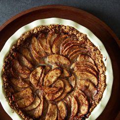 Mixed Apple Pie with Hazelnut Crumb Crust and Maple Cream