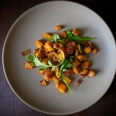Brown Butter-Roasted Sweet Potatoes with Arugula and Bacon