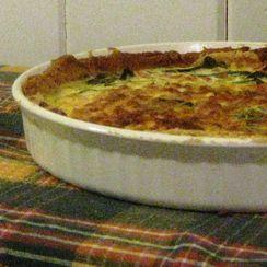Gluten-free quiche with collard greens, ham and leeks