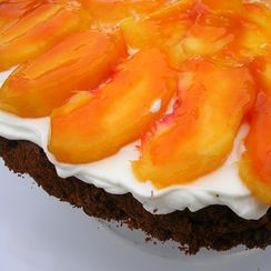Chocolate Hazelnut Cake with Peaches and Cream
