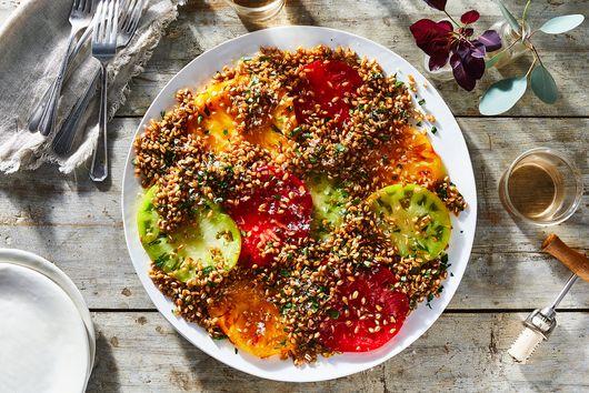 Crispy Farro and Tomato Salad