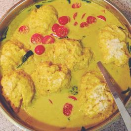 Coconut Curry-Poached Tofu & Dumplings