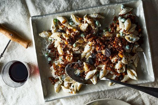 Crispy Spiced Lamb and Yogurt Pasta