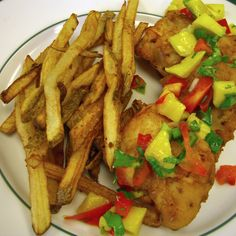 Beer Battered Fish and Chips with Mango Salsa