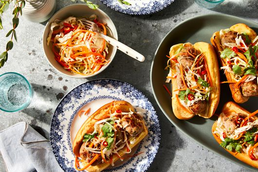 Lemongrass Meatball Subs With Spicy Veggie Slaw
