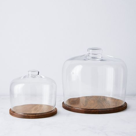 Hand-Blown Glass Cloche & Walnut Base