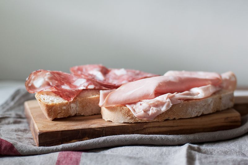 Salame and mortadella on bread, the classic merenda