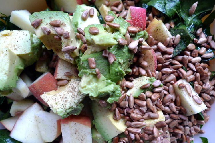 Massaged Kale Salad with Radish, Apple, Avocado, and Roasted Sunflower Seeds