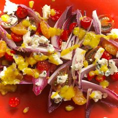 Satsuma and Tomato Salad with Roquefort and Red Chicory