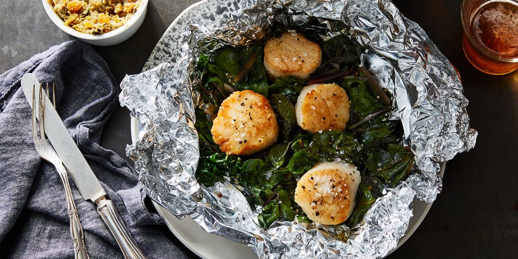 Foil-packet scallops with caper butter.