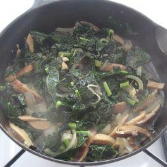 Miso Braised Kale and Mushrooms