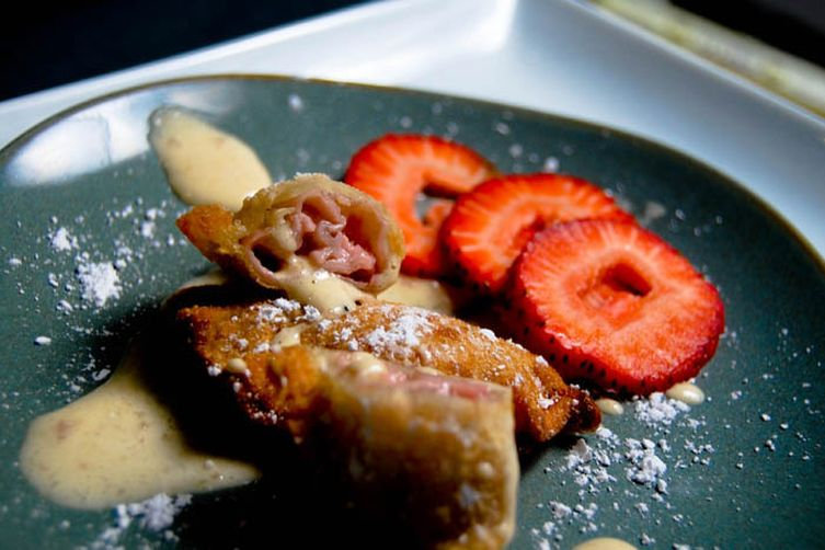 Strawberry Mascarpone Dumplings with Strawberry Whiskey Sabayon