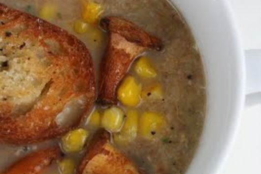 Chanterelle and Leek Soup with Roasted Corn