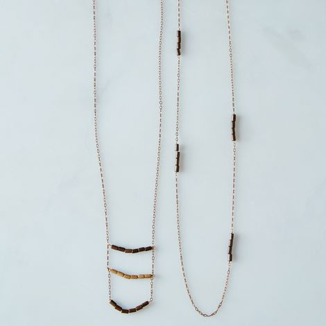 Brass and Wood Layering Necklaces