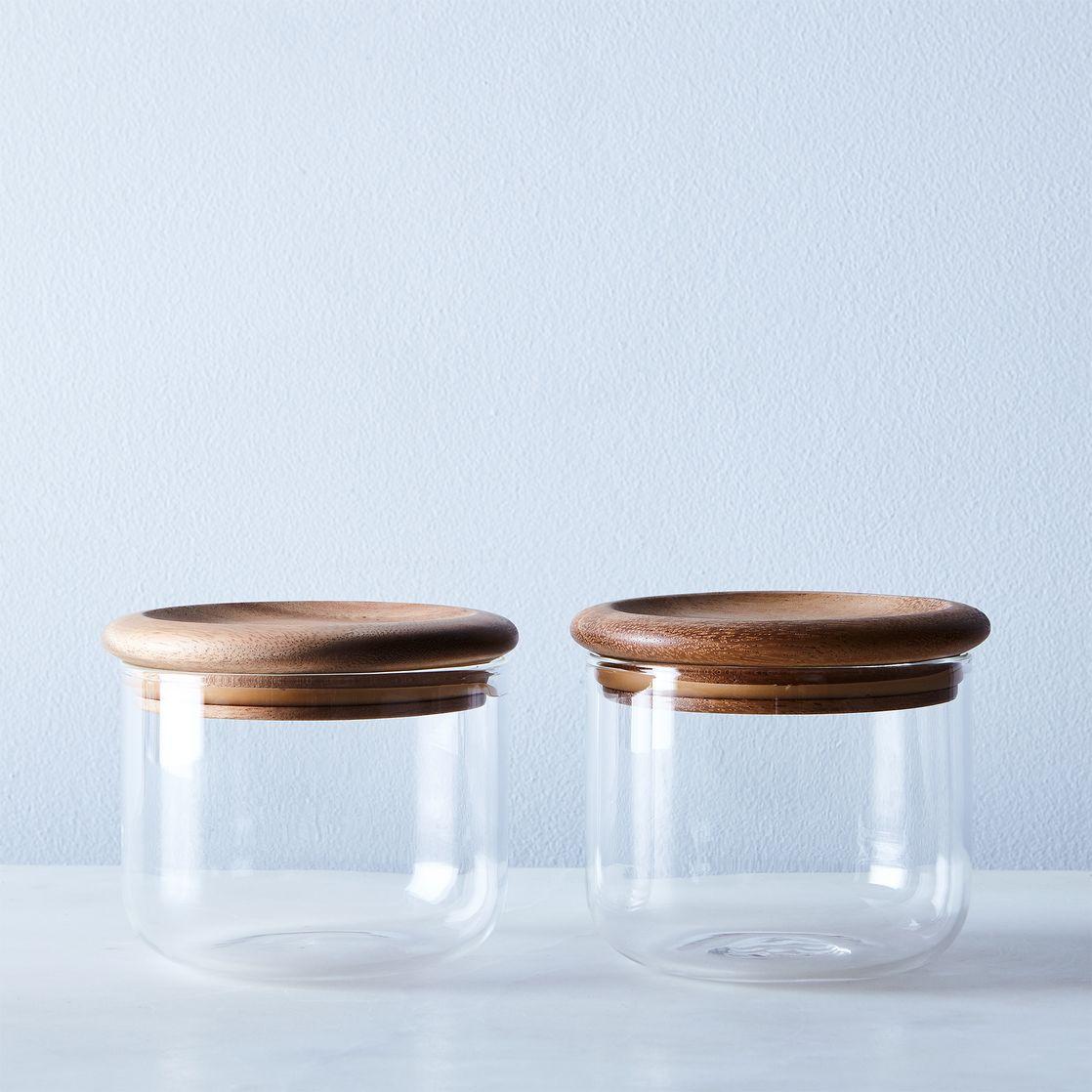 100 glass kitchen canisters airtight prepara evak push down glass kitchen canisters airtight baum glass wood airtight canisters set of 2 on food52