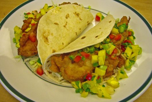 Beer Batter Fish Tacos With Mango Salsa