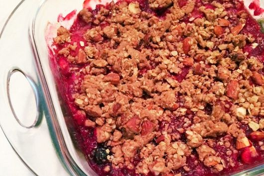 Rhubarb, Cherry and Strawberry Crumble