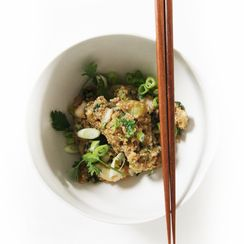 Fried Quinoa with Crispy Eggplant and Bok Choy