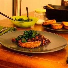 Red Wine Braised Lentils with (Veggie) Sausage