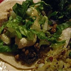 """Refried"" Black Beans and Walnut Meat Tacos (Vegan)"