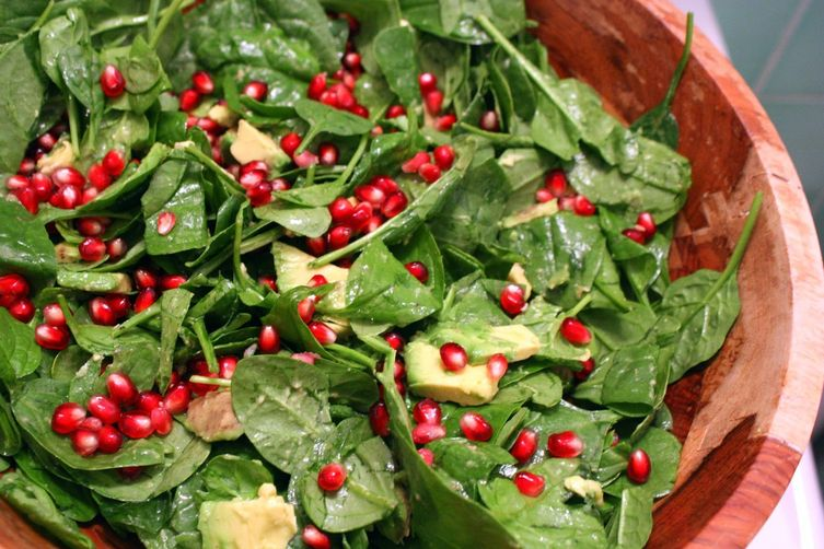 Spinach, Avocado, Pomegranate Salad with Warm Vinaigrette