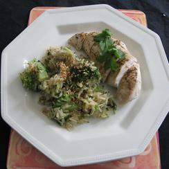 Chicken with Miso Sauce and Broccoli Sesame Rice