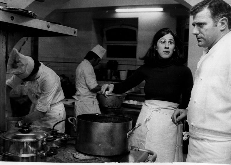 Paula with Gascon chef Andre Daguin in the town of Auch. Courtesy William Bayer and the personal collection of Paula Wolfert.