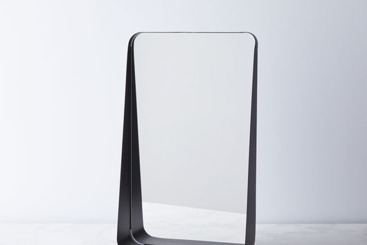Modern Black Wall Mirror with Shelf