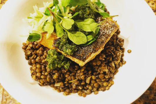 Crispy Salmon and Lentils with Shaved Fennel Salad and Fennel Pesto