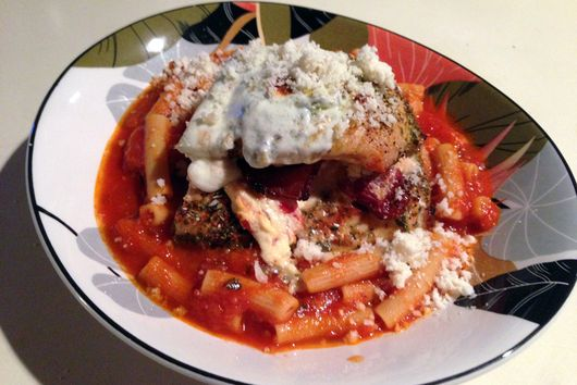 Stuffed Chicken Breast over Pasta
