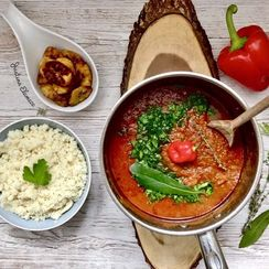 Authentic Nigerian Beef Stew with Plantain & Paleo Rice