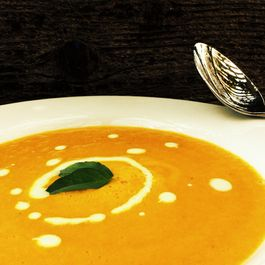 Chilled Curried Carrot Soup with Herb Yogurt Sauce